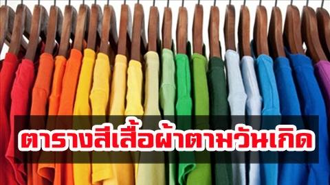 สีเสื้อผ้าตามวันเกิด 2564 ใส่แล้วเป็นมงคล เสริมดวง การเงิน การงาน ความรัก