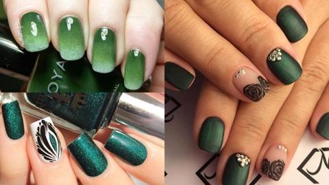 สวยหรูมีคลาส มือขาวผ่อง กับไอเดียแต่งเล็บ 'โทนสีเขียว'