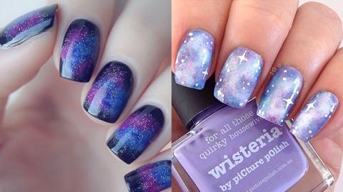 'galaxy on nails' ไอเดียและขั้นตอนการแต่งเล็บลายกาแล็กซี่