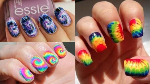 รวมไอเดียแต่งเล็บแบบสีมัดย้อม tie dye nails!