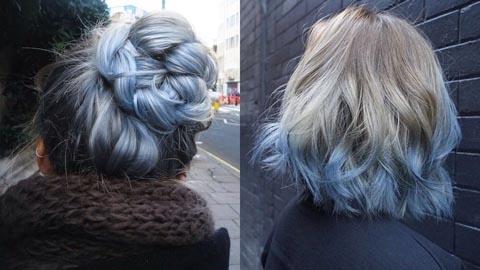 รวมไอเดียย้อมปลายผม สีฟ้าหม่น สวยแบบสายติสท์
