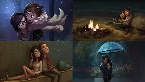 โรแมนติกเกิ้น!! 15 ภาพการ์ตูนคู่รักอินเลิฟ หวานจนน้ำตาลเรียกพี่