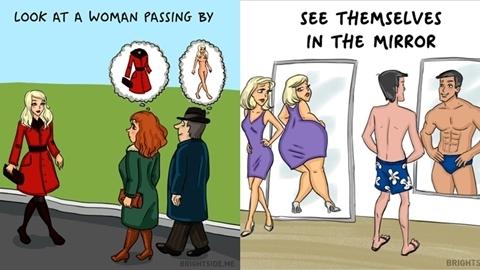 ต่างกันคนละขั้ว!! 14 ภาพเปรียบเทียบ ผู้ชาย VS ผู้หญิง คู่คุณเป็นแบบนี้หรือเปล่า?