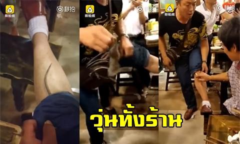 ขนลุก !! หนุ่มนั่งกินบุฟเฟ่ต์อยู่ดีๆ เจอหนูใหญ่มุดกางเกง ก้มดูถึงกับช็อก !!! (คลิป)