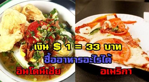เงิน 1 ดอลลาร์ = 33 บาท สามารถซื้ออาหารอะไรได้บ้างจากต่างประเทศทั่วโลก !!!