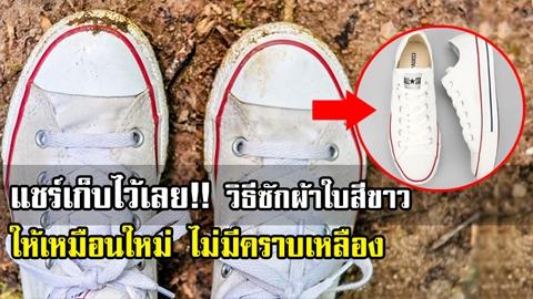 อย่างเจ๋ง!! 6 วิธี ''แก้คราบเหลือง'' บน ''รองเท้าผ้าใบสีขาว'' ให้กลับมาขาวจั๋วอีกครั้ง