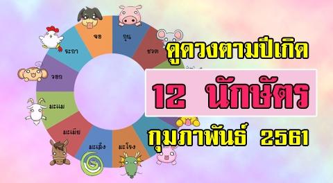 ดวง 12 นักษัตร การงาน การเงิน ความรัก สุขภาพ ประจำเดือน กุมภาพันธ์ 2561 !!!