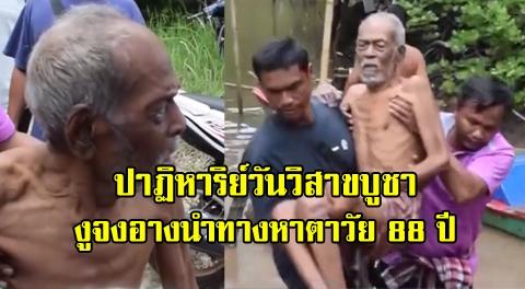 สิ่งศักสิทธิ์ช่วย !! ชาวบ้านเชื่องูจงอางดลใจนำทาง ให้เจอคุณตาวัย 88 ปีหลังหายตัวไป 2 วัน !