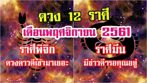 หมอช้าง เผยดวง 12 ราศี ประจำเดือนพฤศจิกายน 2561