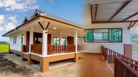 ไอเดีย บ้านทรงไทยประยุกต์ เฉลียงกว้างแบบโปร่งโล่ง รับลมเย็นๆ