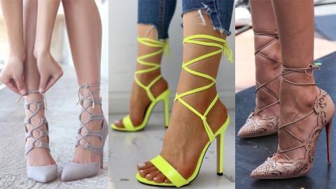 แฟชั่นรองเท้าส้นสูงเเบบผูกเชือก เท้าดูเรียวปังมากเว่อร์
