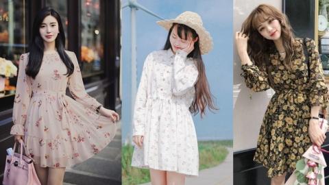 เเฟชั่นเดรสลายดอกสไตล์สาวเกาหลี ละมุนหนักมากจนสาวๆ ต้องอยากแต่งตาม