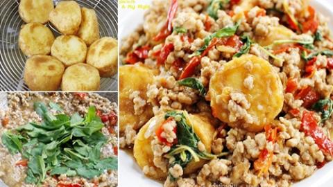 วิธีทำ กะเพราหมูสับเต้าหู้ไข่ อาหารง่ายๆ อร่อยครบรส