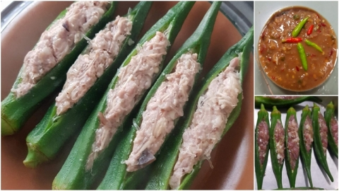 สูตร กระเจี๊ยบเขียวยัดไส้หมูสับนึ่ง กินคู่กับน้ำพริก อร่อยมาก